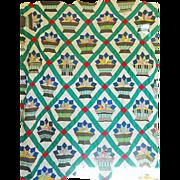 Vintage Quilt TOP  Folk Art ..... colors!