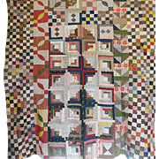 c1860 Quilt TOP- Sampler mishmash confusion - Great fabs Unused