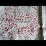 Red Work Pillow Sham Angels