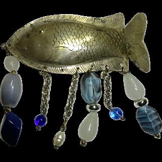 Fish Pin  Metal w Beads