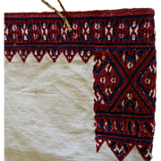 Embroidered Linen Purse Folk Art