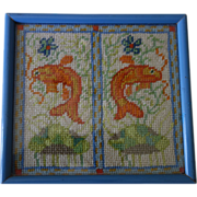 Framed Fish Needlepoint of FISH  from a Chinese jar