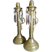 Victorian Pair Spring Loaded Candlesticks Etched Glass & Prisms