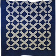 Quilt ~ Indigo & White Lattice- mid-sized quilt
