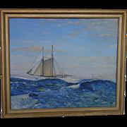 1944  H. Trenn Maritime Nautical Sailing Ship Oil Painting