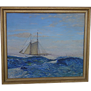 Oil Painting Sailing Ship 1944  H. Trenn Maritime Nautical