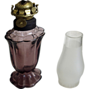 Miniature Oil Lamp - Amethyst glass