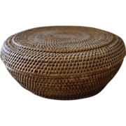 Old Chinese Coil Basket with Lid