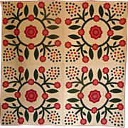 Mint Applique Quilt - 1800's - 12spi berries EXPERTLY MADE
