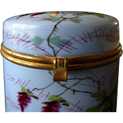 Porcelain hand-painted box- Butterfly flowers, c. 1860 French