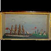 Antique Ship Diorama with lighthouse- c1900~FOLK ART
