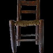 Miniature Chair - Rush Seat - Folk Art - Flemmington NJ Farm pc.