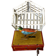German Tin Wind-up Penny Bird In Cage c. 1900