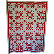 "Antique Red and White Detailed Great Quilt 66""x81"""