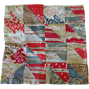 Old Doll Quilt--c1870 ~ pretty colors--reds