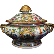 Rose Medallion Sauce Tureen c. 1870 Chinese