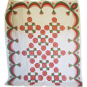 Applique Quilt c.1850 --Red,Pink,Green,Cheddar -a Really SWAGGY LARGE Quilt