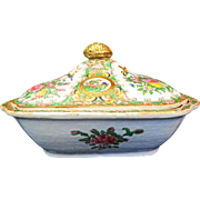 Rose Medallion Covered Vegetable Dish ~ Rose Canton ~ Famille Rose ~ Chinese Export