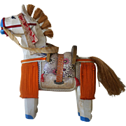 Old Wooden Horse Figure Japanese with wood saddle w silk cushion AMUSING
