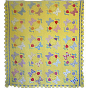 1930's Applique Quilt-Butterflies and Tulips--all Diff Feedsack Prints-PRETTY - Red Tag Sale Item