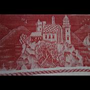 Old Damask Dresser Cloth, Runner, Towel, Red Castle  Galleon  Ship designs CHARMING!