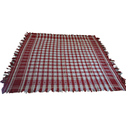 Red and white Tablecloth woven with fringe and designs