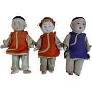 3 Chinese Miniature Dolls- Triplets-  3-1/2-inches