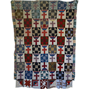 Quilt TOP ~ c1860 Crown and Cross-  for collectors