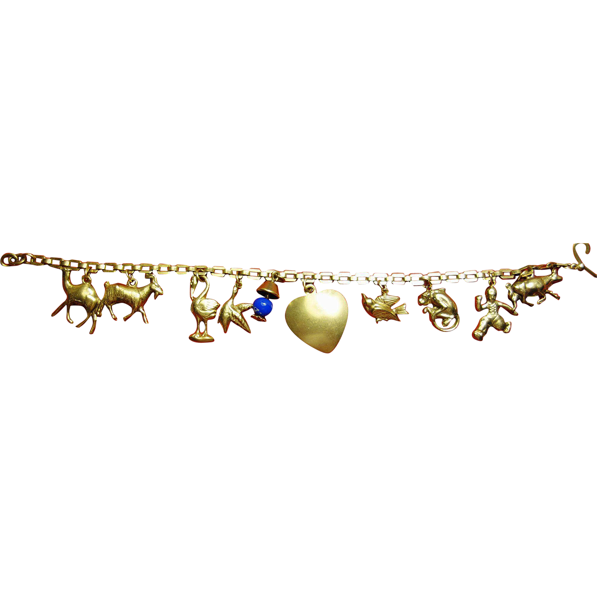 Charm Bracelet Vintage 10K yellow Gold 10 Charms Dainty from