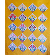 Stunning ~Art Deco Applique Tulips Charm Quilt -