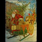 Postcard Christmas Santa with Sleigh