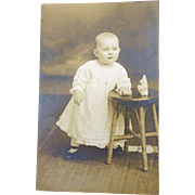 old Postcard Photo of Baby Jean Rims..do you know her? c. 1910  no hair!