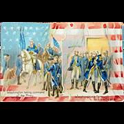 old Postcard Washington taking Command and Farewell