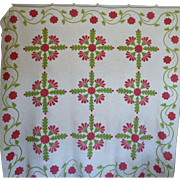 Trapunto Applique Quilt EXQUISITE initialed 1800's ~ 20%OFF