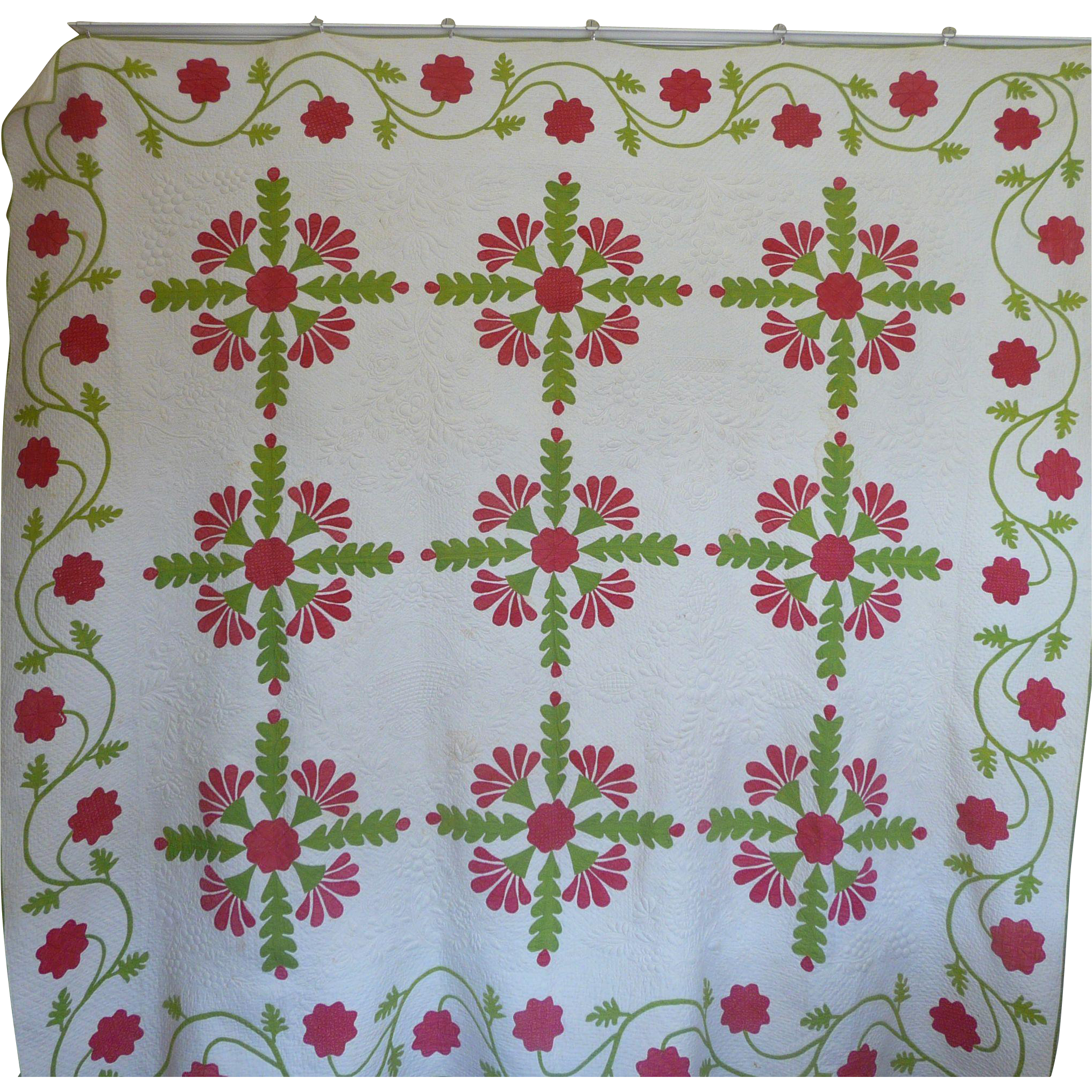 Quilting Trapunto Designs : Trapunto Applique Quilt EXQUISITE initialed 1800 s ~ 20%OFF from cowhollowcollectibles on Ruby Lane