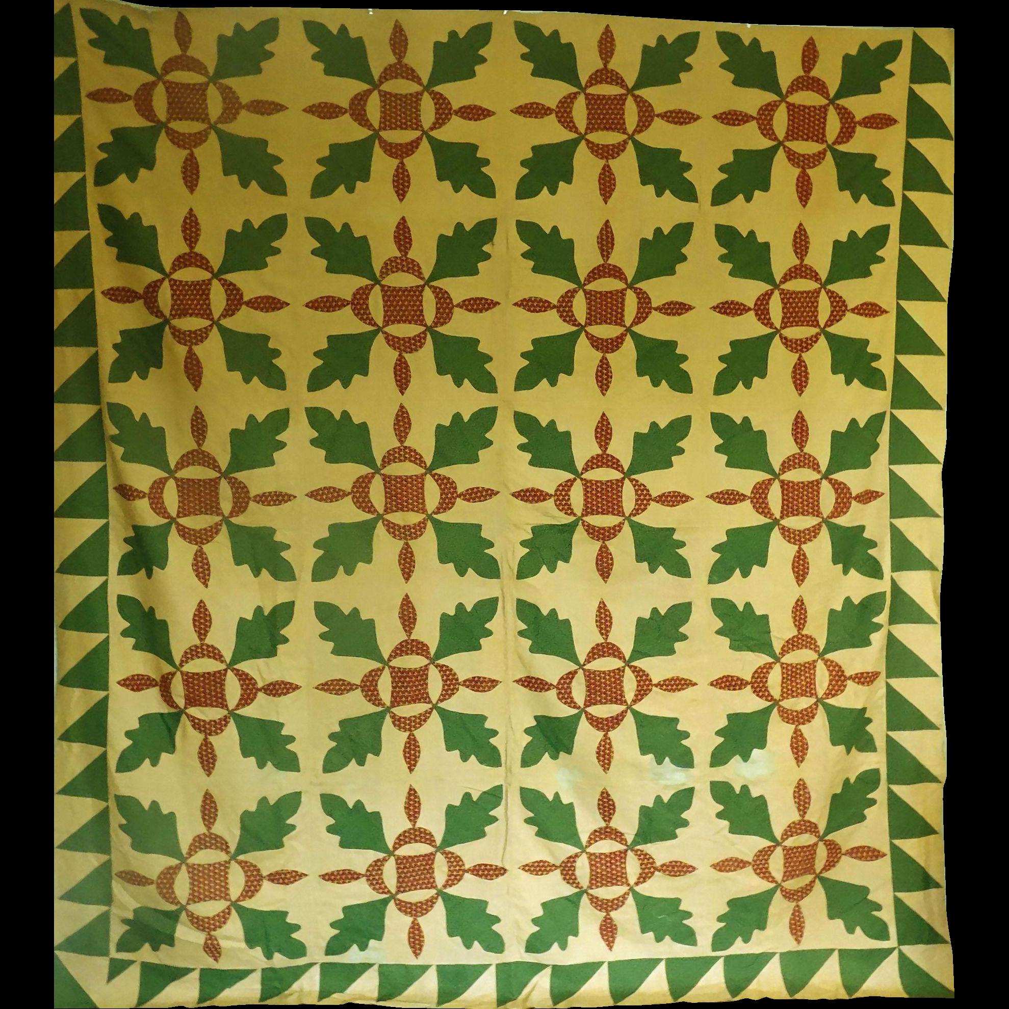 Applique oak leaf cheddar quilt top c from