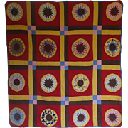 Quilt- Red & Cheddar Mariner's Compass 1930's