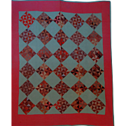 1800's Quilt brown double pink Scraps On Point Unused  NICE!!