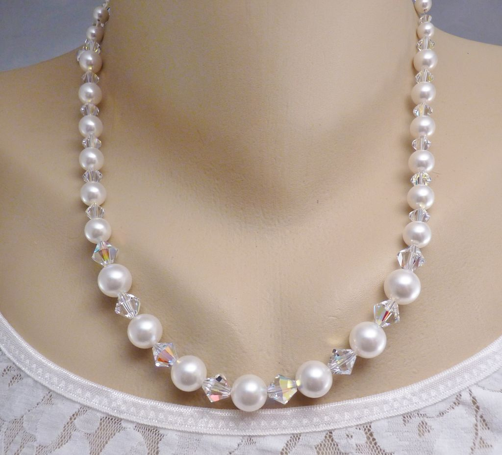 Handcrafted Wedding Bridal Swarovski White Crystal Pearls And Ab Crystal  Sterling Necklace And Earrings Set