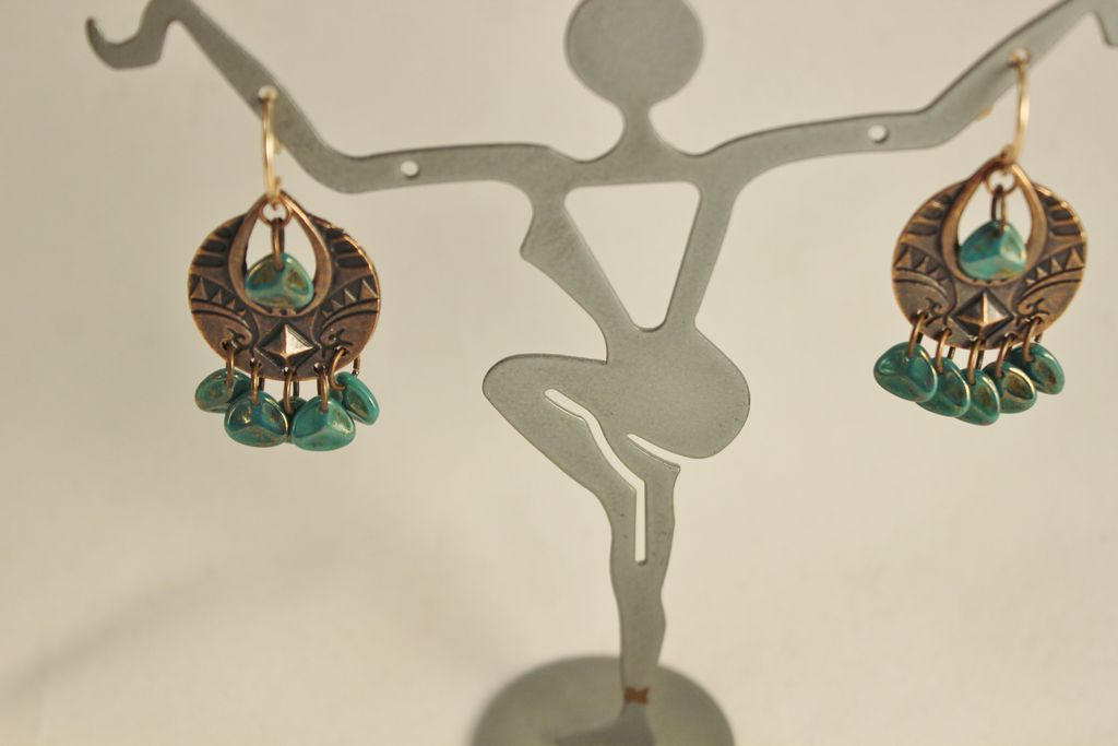 Artisan Antique Copper Chandelier Earrings With Turquoise
