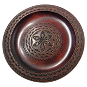 Carved Wooden Plate With Brass Inlay Poland