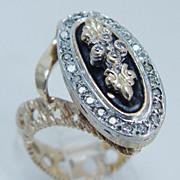 """Vintage """"14K Yellow Gold"""" Diamond Black Enamel Large Ring"""