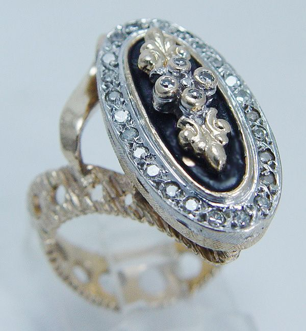 "Vintage ""14K Yellow Gold"" Diamond Black Enamel Large Ring"
