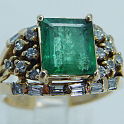 "Vintage ""18K Yellow Gold"" Colombian 2.11cts Emerald Diamonds Ring 8.5 grams"