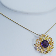 "Vintage Art Nouveau ""18K Yellow Gold"" Amethyst Pearl Pendant Pin Brooch Lovely"