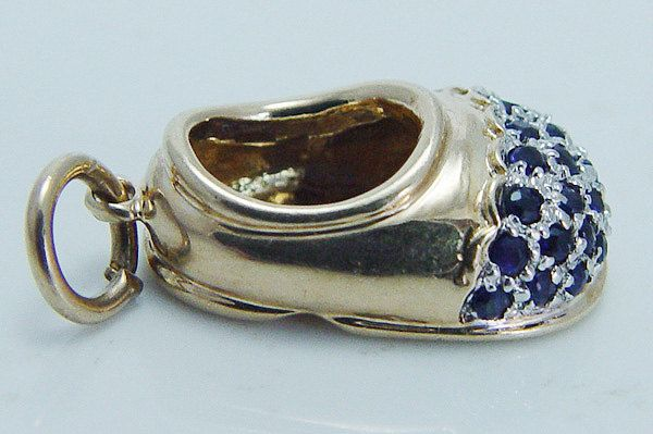 "Lovely Estate ""14K Yellow Gold"" Sapphire Baby Boy Shoe Pendant Charm"