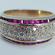 "Estate ""14K Yellow Gold"" VS2 Diamond .56ct Quality Ruby Band Ring Size 6.25 (can be sized) 4.8 Grams"