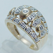 "Estate ""14K Satin Yellow Gold"" Diamond Wide Domed Band Ring"