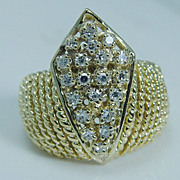 "Vintage ""14K Yellow Gold"" VS1 Single cut Diamond Large Crown Ring for Princess 8.8 Grams Size 7 (can be sized)"