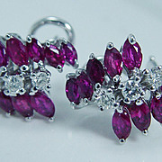 "High Quality Ruby and Diamond Earrings ""14K White Gold"" Omega backings"